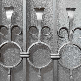 Wrought iron ornate window grille