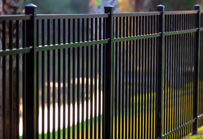 Black metal partition fence